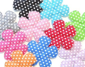 20 Padded Felt Cotton Swiss Dot Flower Appliques 10 Colors 1 inch Craft EA245