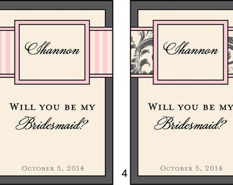 Bridesmaid Wine Labels - Bridesmaid and Maid of Honor Labels for Wine Bottles for your Wedding Party - Customized - 6 Labels