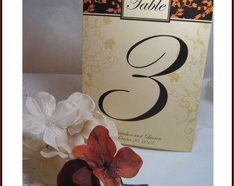 Fall Wedding Table Numbers - Autumn Leaf in your Fall Colors Customizable