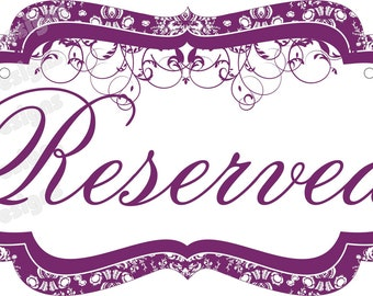 2 Custom Wedding Chair Signs for Reserved Seating/Bride/Groom/Mr/Mrs/Your Names