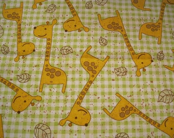 1 Yard Cotton Fabric  Green Check Background with Yellow Giraffes  Clearance