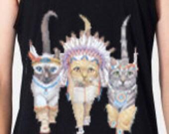 Three Native Kitty Cats Men's Tank Top American Apparel Black