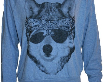 Party WOLF American Apparel Raglan Slouchy Sweatshirt Pullover   S M or L