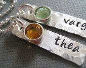 Personalized Jewelry - Hand Stamped Sterling Silver Mommy Necklace - Two Little Tags with Hammered Border