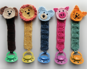 Pacifier Holder with Animals - PDF Crochet Pattern - Instant Download