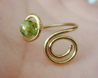 Knuckle Ring  -  Peridot Ring - 14K Gold Peridot Ring - 14K Gold Filled Ring - Wire Wrapped Ring