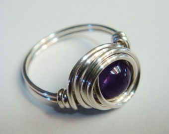 Amethyst Jewelry   Amethyst Ring   Sterling Silver Ring   Wire Wrapped Ring  February Birthstone Ring