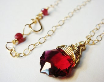 Ruby Necklace   Red Necklace   Ruby Swarovski Crystal Baroque and Ruby Red Sapphire Necklace in 14K Gold Filled    Red Sapphire Necklace