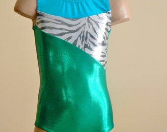 CHOOSE YOUR COLORS. Gymnastics Dance with Zebra Print Insert. Sizes 2T- Girls 12