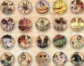 Digital Round Halloween Bottle Cap Size Images 1 Inch Circles - INSTANT Download Collage Sheet - Jewelry Making And  Party Crafts CS34H