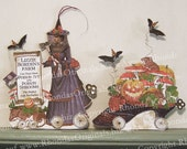 Digital Halloween Decoration Lizzie Borden Paper Doll With Shoe, Bats, Mushrooms - INSTANT Download HP32H