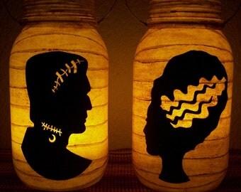 New Grungy Primitive Halloween Frankenstein & Bride Silhouette Lantern Set Light Luminary Mantel Porch Folkart Folk Art Camping Gift