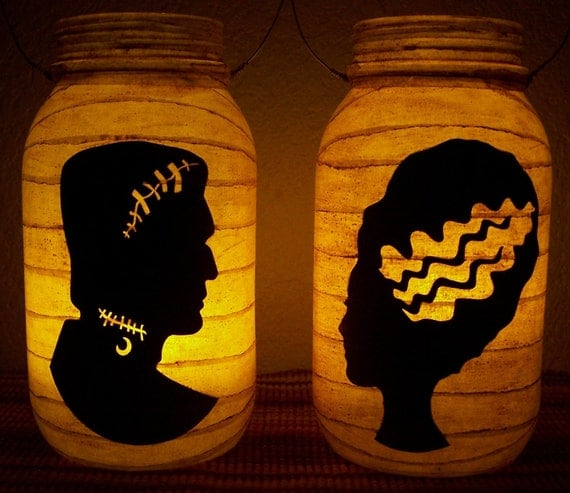 New Grungy Primitive Halloween Frankenstein & Bride Silhouette Lantern Set Light Luminary Mantel Porch Folkart Folk Art Camping Gift