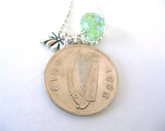 1986 IRISH Coin Charm Necklace-5 Pence Ireland Necklace