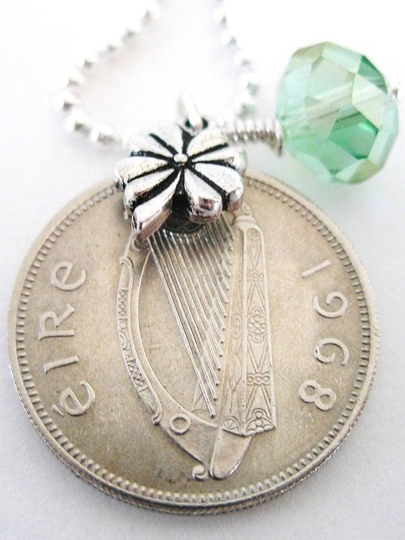 1968 IRISH Coin CHARM Necklace- 1968 IRISH Shilling