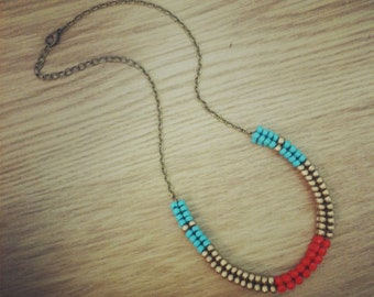 Banded Woven Beadwork and Chain Collar Necklace - Turquoise/Red/Gold