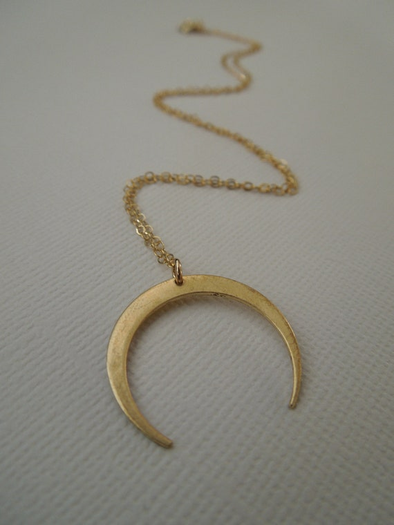 gold crescent necklace, gold moon, brass crescent, large crescent horn, gold pendant, simple pendant necklace, everyday necklace bridesmaids