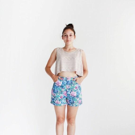 SALE  Floral denim shorts - 90s - small, medium