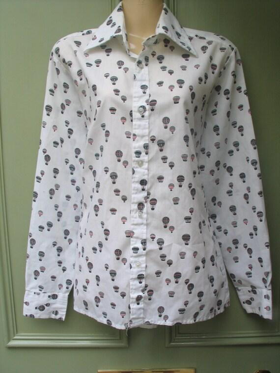 Fabby unusual novelty hot air balloon print unisex blouse / shirt, 1970s