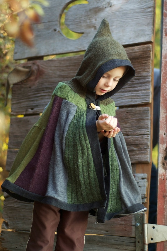 Woodland Cape Upcycled Sweaters Tree Branch Button Closure