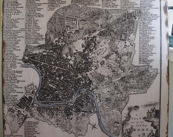 Rome Vintage Map - 36x36 - FREE SHIPPING - Home Decor - On Salvaged Wood - RuPiper Designs Original