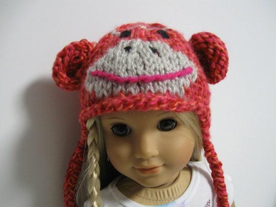 American Girl Doll -  Pink/Orange Sock Monkey Hats