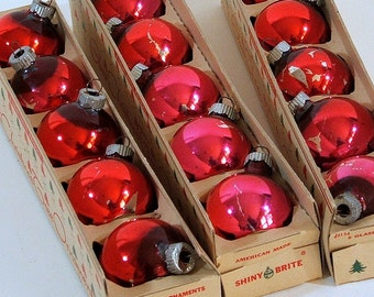 Shiny Brite Christmas Tree Ornaments, Small, Red Holiday Ornaments