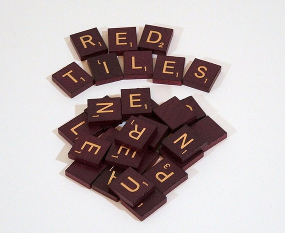 RESERVED FOR ROBIN Red Scrabble Tiles, 60 Red Tiles