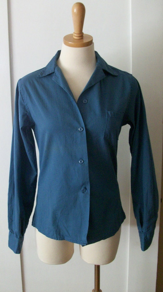 1940s Rosie the Riveter Blue Cotton 'American' Long Sleeve Button Down Work Shirt with Pocket-XS