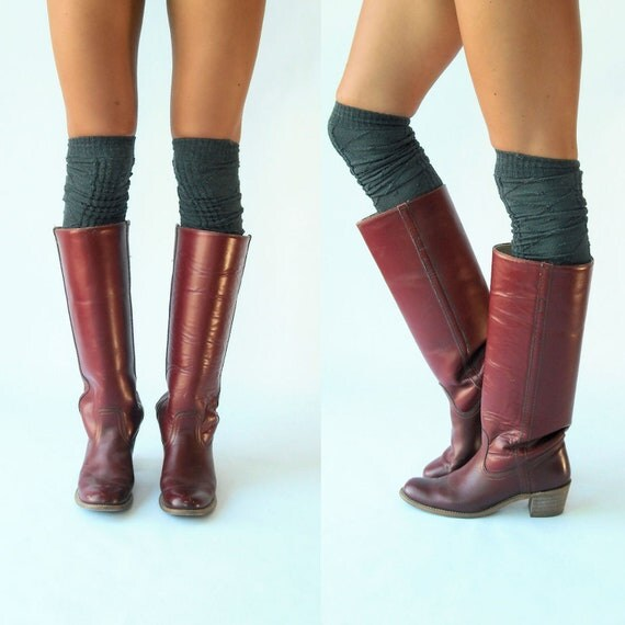 70's Vintage Burgundy Leather Frye Boots / Campus Riding Boots / 9 10 39