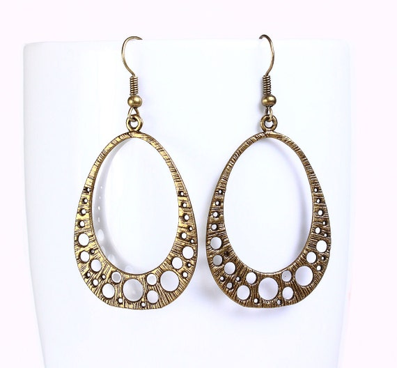 Antique brass filigree drop earrings (520) - Flat rate shipping