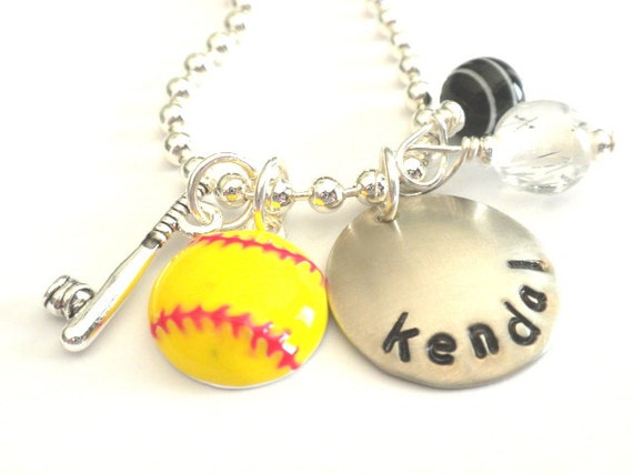 Hand Stamped Personalized SOFTBALL Charm Necklace