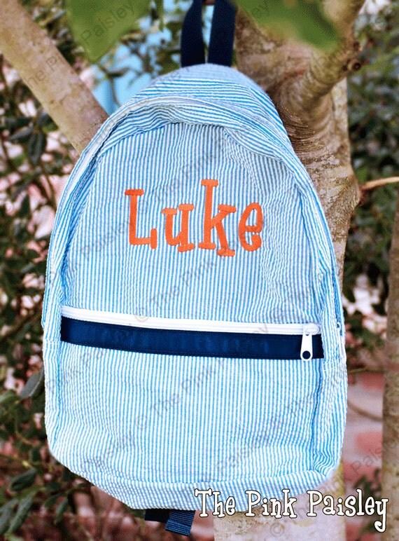 monogrammed seersucker backpack small by pinkpaisleymonograms