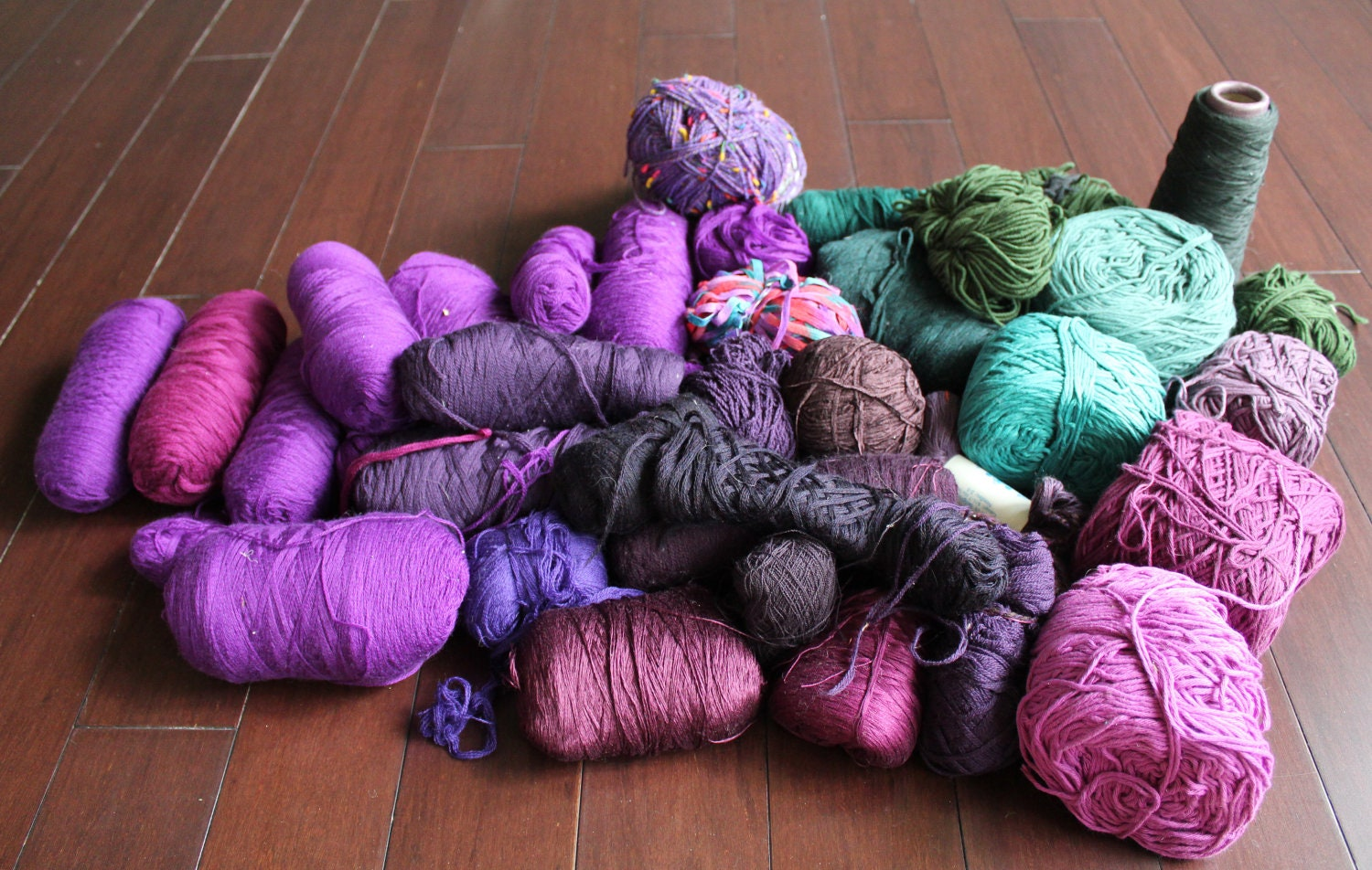 shades of purple green mixed lot of yarn by luxeyarns on etsy. Black Bedroom Furniture Sets. Home Design Ideas
