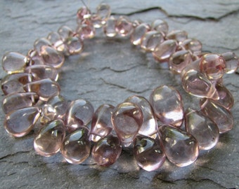 Pink Mystic Quartz Smooth Teardrop Briolettes, 7 inch FULL strand, 8 - 15mm (8w84)