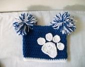 Kentucky Wildcats Beanie with Pom Poms in Blue and White With Applique Paw Choose your size