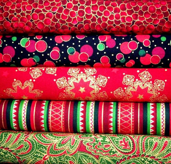 SALE 40% off Christmas fabric bundle- 1/2 yards set of 5 cotton quilt fabrics- stripes, paisley, and snowflakes