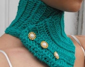 Blue Green Neck Warmer - Cowl - Adjustable