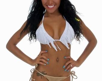 White Fringe Triangle Bikini  TOP ONLY