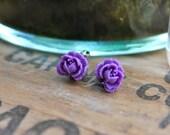 Ruffle Rose Earrings // LSU Purple
