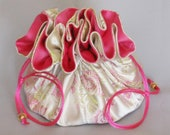 Fuchsia Pink Floral--Large Satin Brocade Travel Tote--Jewelry Organizer Drawstring Pouch
