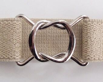 Retro 80s-style Beige Elastic Belt
