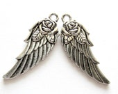12 Antique silver wing charms w rose angel wing charms 11mm 31mm double sided