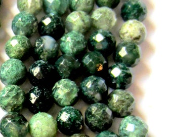 60 Moss agate beads faceted green gemstone 6mm diy jewelry making supplies C001