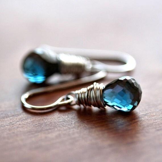 London Blue Topaz Earrings, Midnight Ink Blue Gemstone Sterling Silver Necklace December Birthstone Blue Topaz Jewelry - Olympian