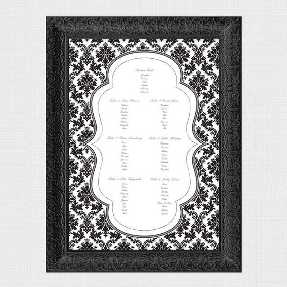 damask wedding seating chart - printable file - traditional wedding seating plan classic elegant black and white customised table assignment
