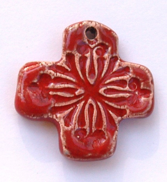 Ceramic Cross Pendant in Red  by Clay Designs by glee Pottery Cross Pendant Cross Charm