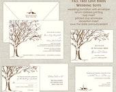 Rustic Tree Love Birds Wedding Invitations Tree Invitation Autumn Eggplant Purple Burnt Orange Leaves Leaf Linen Blooms Trunk