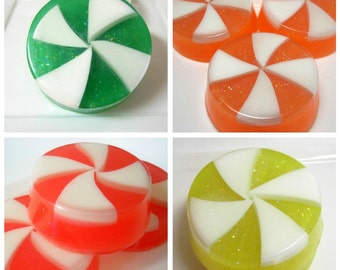 Candy Soaps - Set of 4 - Glycerin Soap, Soaps for Kids, Dessert Soaps, Christmas Soap, Lemon, Apple, Candy Cane, Orange, Holiday Soaps