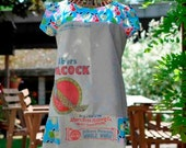 Vintage flour sacks used to create cute one of a kind easy wear dress. Linen and cotton finish the look